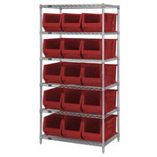 """Quantum WR6-953 Chrome Wire Shelving With 15 24""""D Bins Red, 36x24x74"""