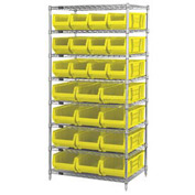 "Quantum WR8-950952 Chrome Wire Shelving With 24 24""D Bins Yellow, 36x24x74"