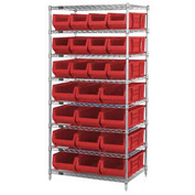 "Quantum WR7-20-MIXRD Chrome Wire Shelving With 20 24""D Bins Red, 36x24x74"