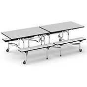 "Virco® Cafeteria Table with Benches - 96""L - Gray Nebula Top"