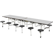 "Virco® Folding Mobile Table 144""L - Gray Nebula Top - 16 Black Seats"