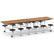 "Virco® Folding Mobile Cafeteria Table with Seats - 120""L - Medium Oak Top - 12 Navy Seats"