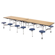 "Virco® Folding Mobile Cafeteria Table with Seats - 144""L - Medium Oak Top - 12 Navy Seats"