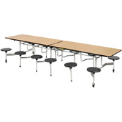 "Virco® Folding Mobile Cafeteria Table with Seats - 144""L - Medium Oak Top - 12 Black Seats"