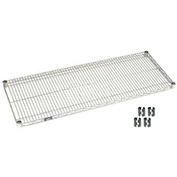 "Nexel S1836EP Silver Epoxy Wire Shelf 36""W x 18""D with Clips"