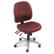 Antibacterial Office Chair - Leather - Burgundy