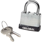 General Security Laminated Steel Padlock with Bumper and Two Keys - Keyed Differ