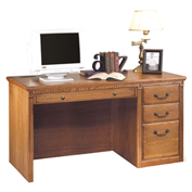 Martin Furniture Computer Desk - Single Pedestal - Wheat - Huntington Oxford Series