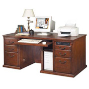 Martin Furniture Executive Office Desk with Keyboard Drawer - Cherry - Huntington Club Series