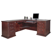 Huntington Club Left L-Shaped Desk - Vibrant Cherry