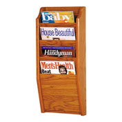 4 Pocket Oak Wall Rack Medium Oak