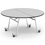 "Virco® MT60R 60"" Round Folding Roll-A-Way Table Gray"