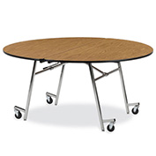 "Virco® MT60R 60"" Round Folding Roll-A-Way Table Oak"
