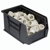 Quantum Plastic Stacking Bins - Parts Storage Bin QUS221 6 x 9-1/4 x 5 Black - Pkg Qty 12