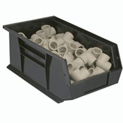 Quantum Plastic Stacking Bins - Parts Storage Bin QUS242 8-1/4 x 13-5/8 x 8 Black - Pkg Qty 12