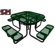 "46"" Octagonal Picnic Table Green Perforated Metal Surface Mount Style"