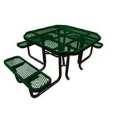 "46"" Octagonal Picnic Table (Ada) Green Expanded Metal Surface Mount Style"