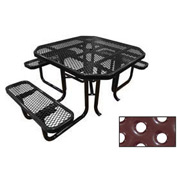 "46"" Octagonal Picnic Table (ADA) Black Perforated Metal Surface Mount Style"