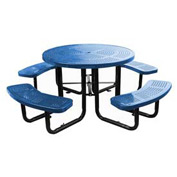 "46"" Round Picnic Table Blue Perforated Metal Surface Mount Style"