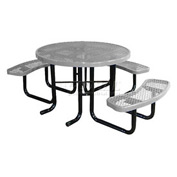 "46"" Round Picnic Table (Ada) Gray Expanded Metal Surface Mount Style"