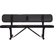"96"" Bench With Backrest Black Perforated Metal Surface Mount Style"
