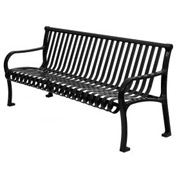 "96"" Bench Straight Top Ribbed Style Black"