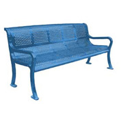 "96"" Perforated Roll Formed Bench - Blue"