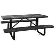 "72"" Rectangular Picnic Table Black Perforated Metal Surface Mount Style"