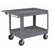 "Large Deluxe 2 Shelf Plastic Utility & Service Cart 6"" Pneumatic Casters"
