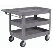 "Large Deluxe 3 Shelf Plastic Utility & Service Cart 6"" Pneumatic Casters"