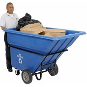 Heavy Duty Blue Recycling Tilt Truck 1 Cubic Yard and 1250 lb. Capacity