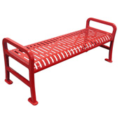"48"" Roll Formed Diamond Flat Bench - Red"
