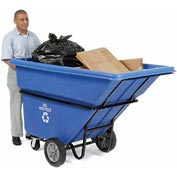 Extra Heavy Duty Blue Recycling Tilt Tuck 1 Cubic Yard and 2100 lb. Capacity