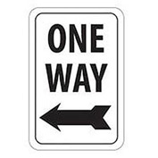 Reflective Aluminum Sign - One Way Left Arrow- .080mm Thick