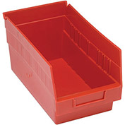 "Quantum Plastic Shelf Storage Bin - QSB202 Nestable 6-5/8""W x 11-5/8""D x 6""H Red - Pkg Qty 30"