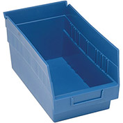 "Quantum Plastic Shelf Storage Bin - QSB202 Nestable 6-5/8""W x 11-5/8""D x 6""H Blue - Pkg Qty 30"