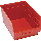 "Quantum Plastic Shelf Storage Bin - QSB207 Nestable 8-3/8""W x 11-5/8""D x 6""H Red - Pkg Qty 20"