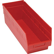 "Quantum Plastic Shelf Storage Bin - QSB204 Nestable 6-5/8""W x 17-7/8""D x 6""H Red - Pkg Qty 20"