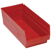 "Quantum Plastic Shelf Storage Bin - QSB208 Nestable 8-3/8""W x 17-7/8""D x 6""H Red - Pkg Qty 10"