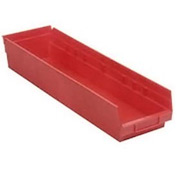 "Quantum Plastic Shelf Storage Bin - QSB206 Nestable 6-5/8""W x 23-5/8""D x 6""H Red - Pkg Qty 8"