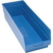"Quantum Plastic Shelf Storage Bin - QSB214 Nestable 8-3/8""W x 23-5/8""D x 6""H Blue - Pkg Qty 6"