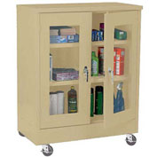 Sandusky Mobile Clear View Counter Height Storage Cabinet TA2V462442 -46x24x48, Sand