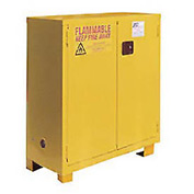 "Global&#8482 Flammable Cabinet With Legs - Manual Close Double Door 28 Gal - 34""W x 18""D x 48""H"