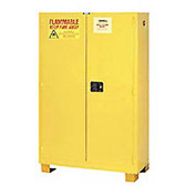 "Global&#8482 Flammable Cabinet With Legs - Manual Close Double Door 45 Gal - 43""W x 18""D x 69""H"