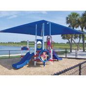 Preschool Playground with Canopy in Red, White, and Blue