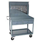 2 Drawer Pegboard Mobile Service Bench 36 x 24 x 60