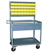 2 Drawer Bin Panel Mobile Service Bench 36 x 24 x 60