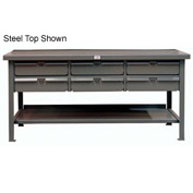 "Strong Hold 60""W x 36""D 6 Drawer with  Plastic Top Workbench"