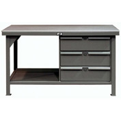 "Strong Hold 72""W x 36""D 3 Drawer with  Steel Top Workbench"