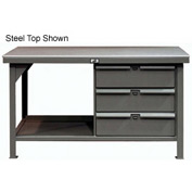 "Strong Hold 72""W x 36""D 3 Drawer with  Plastic Top Workbench"